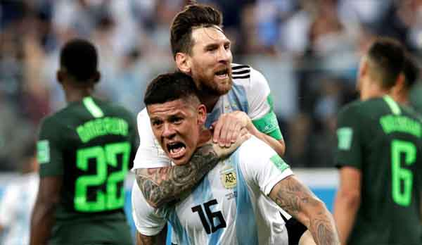 Argentina players after win during Word Cup tournament