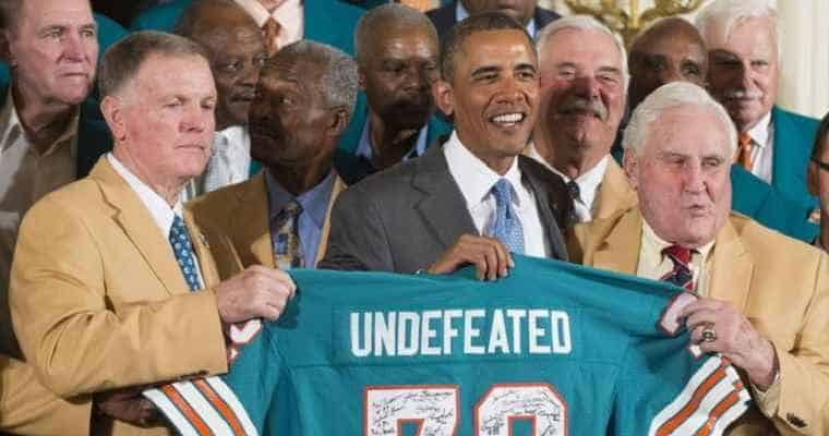 1972 Dolphins with Obama