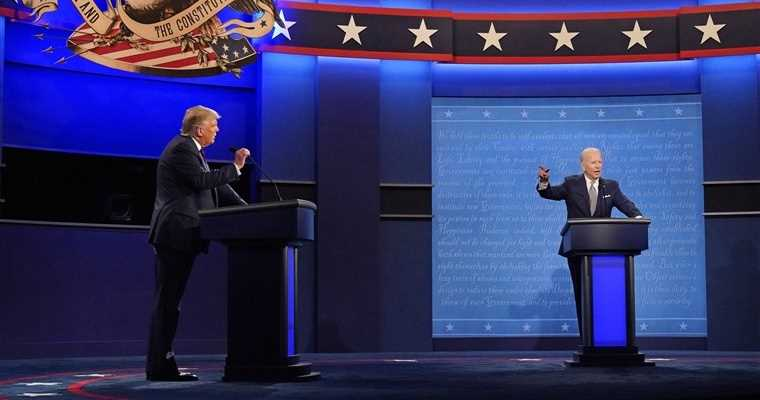Biden and Trump on the debate stage
