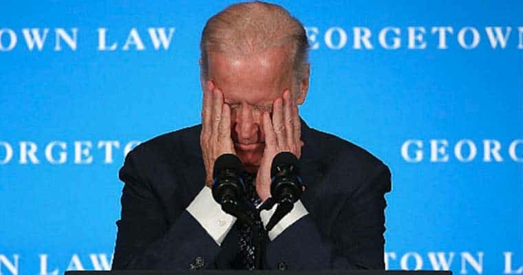 Joe Biden Holding His Head In His Hands