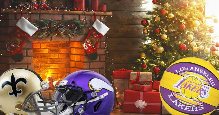 NFL helmets and a Lakers basketball next to a Christmas tree