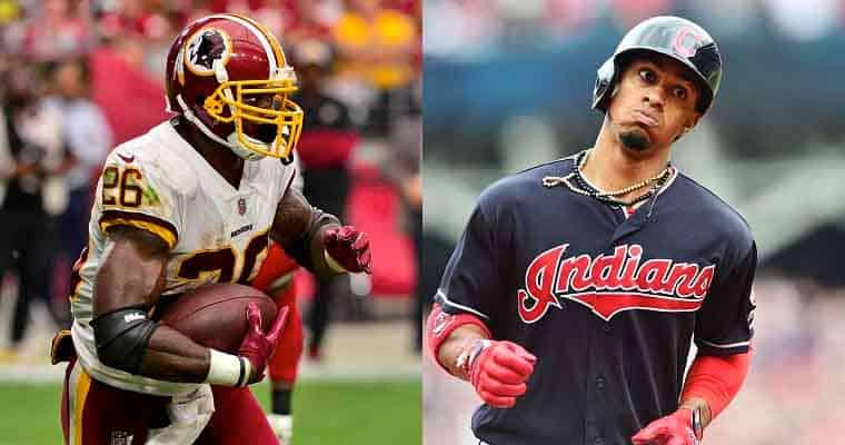 Washington Redskins and Cleveland Indians Players Running