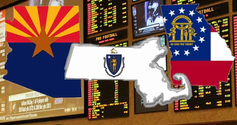 GA MA AZ state map icons in front of a legal sports betting venue