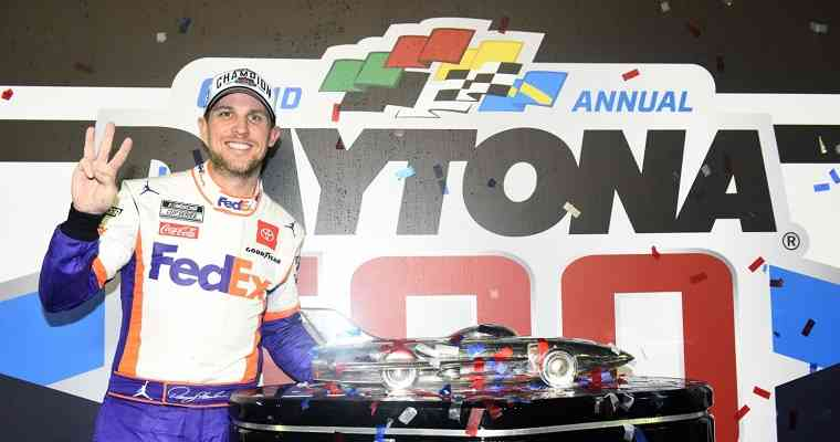 Denny Hamlin proving that the NASCAR betting odds to win the Daytona 500 are correct