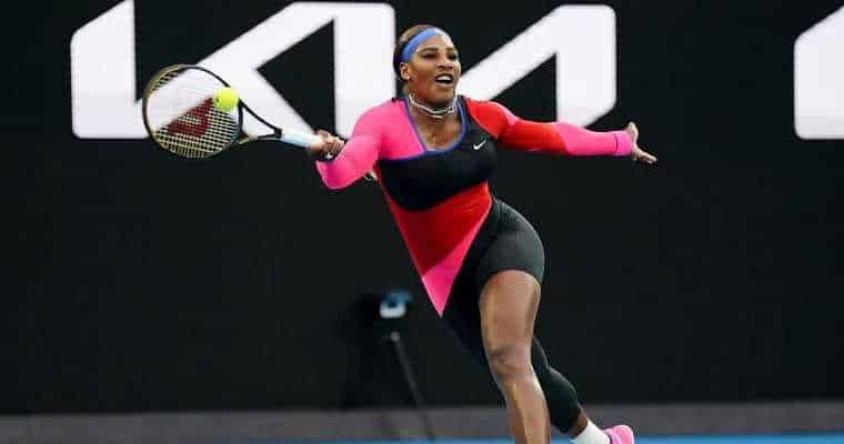 Serena Williams delivering a crushing forehand volley at the Australian Open