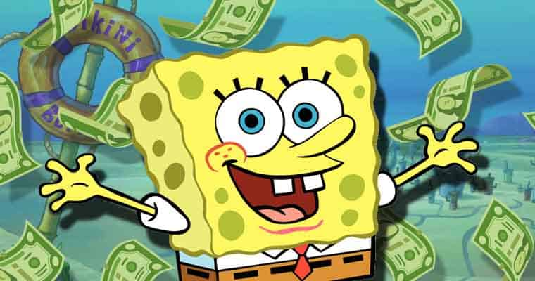 spongebob playing with money