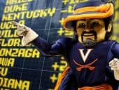 Virginia Cavaliers mascot posing in front of a sportsbook menu