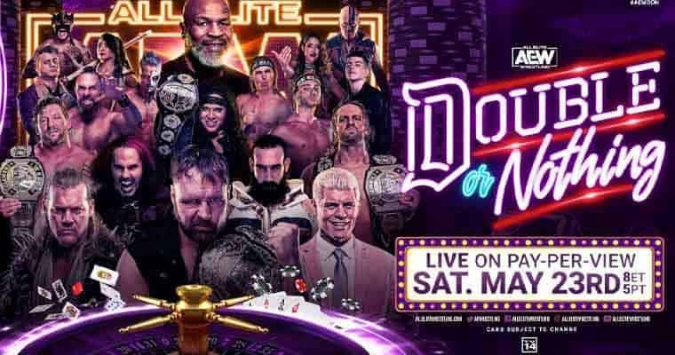 AEW Double or Nothing Pay Per View Banner featuring their roster of wrestlers