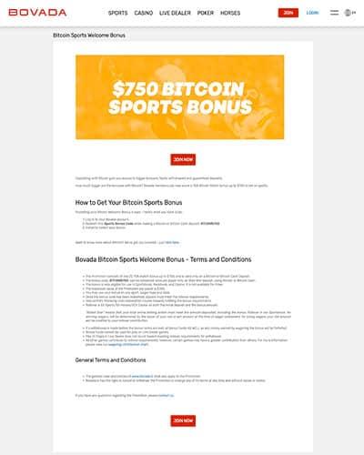 Bovada Sportsbook $750 BTC Bonus