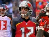 Mike Evans, Tom Brady and Chris Godwin