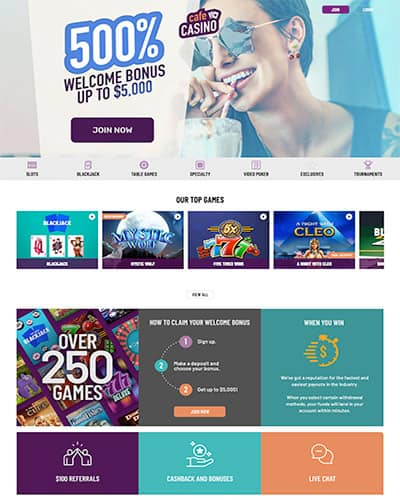 Cafe Casino - 500% Bonus
