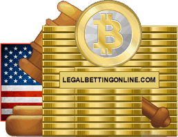 Bitcoins With USA Flag And Gavel