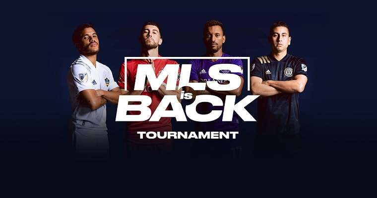 four MLS players standing behind an MLS is Back Tournament logo