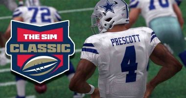 Virtual Dak Prescott faces away from camera with Bovada's The Sim Classic logo to his left