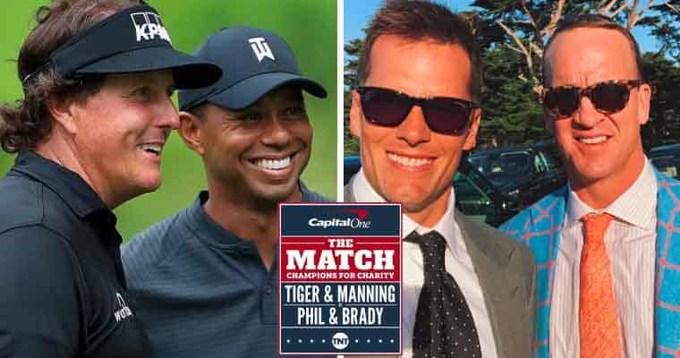 Phil Mickelson Tiger Woods Tom Brady and Peyton Manning with PGA's The Match Logo in front of them