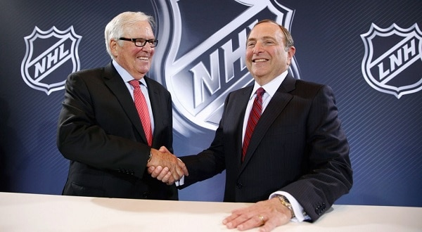 NHL Commissioner Gary Bettman Shakes Hands