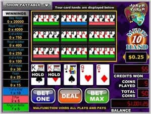 Example Of 10 Hand Video Poker Game