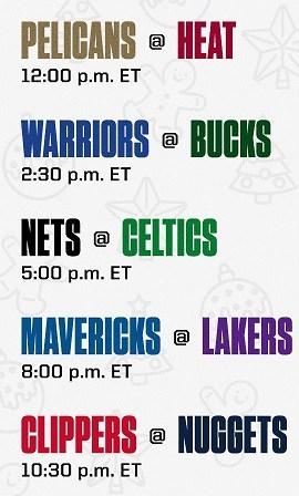 Christmas Day NBA Schedule 2020